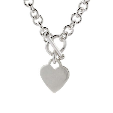 Designer Style Sterling Silver Heart Tag Necklace | Eve's Addiction®