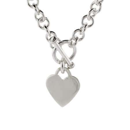 Designer Style Sterling Silver Heart Tag Necklace