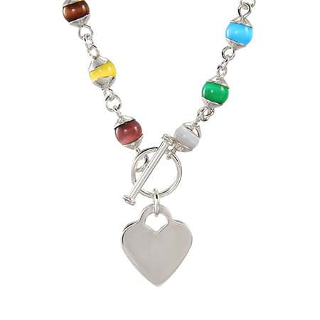 Colorful Cat's Eye Silver Heart Charm Necklace