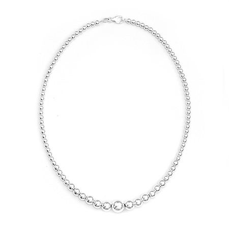 Graduated Bead Sterling Silver Necklace | Eve's Addiction®
