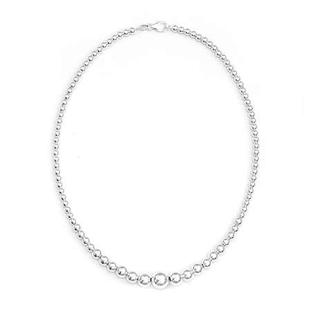 Graduated Bead Sterling Silver Necklace