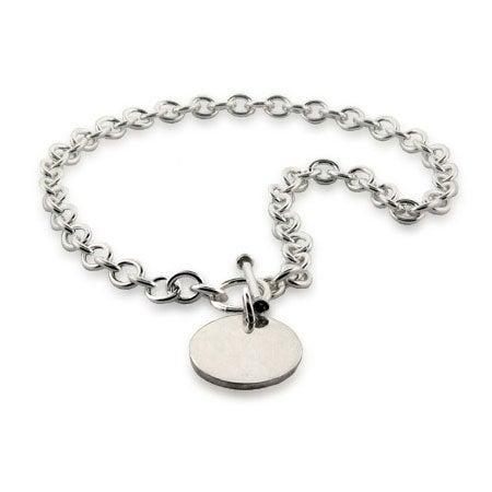 Designer Style Heavy Gauge Round Tag Necklace