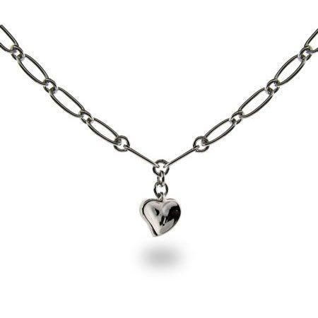 Carved Heart Link Necklace