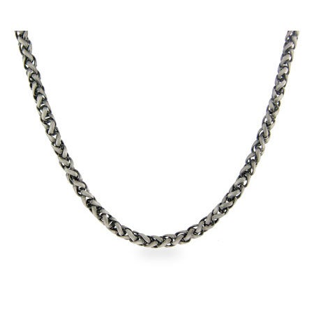Italian Wheat Chain Mens Sterling Silver Necklace