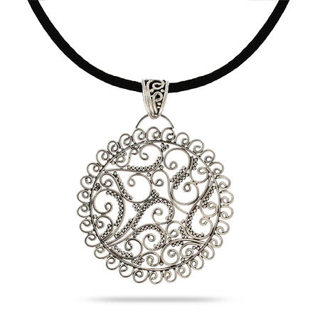 Sterling Silver Round Bali Pendant in Elegant Filigree Design
