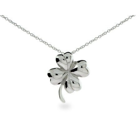Sterling Silver Four Leaf Clover Pendant Necklace