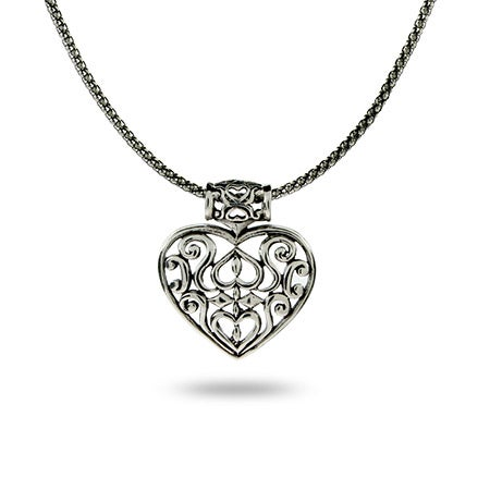 Sterling Silver Bali Heart Necklace | Eve's Addiction