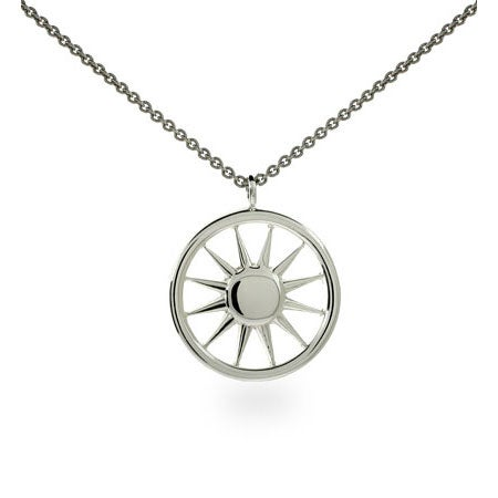 Designer Style Sterling Silver Sun Pendant | Eve's Addiction®