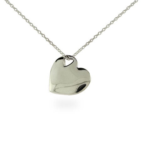 Engravable Solid Heart Sterling Silver Pendant | Eve's Addiction®