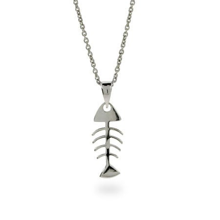 Sterling Silver Fishbone Pendant | Eve's Addiction