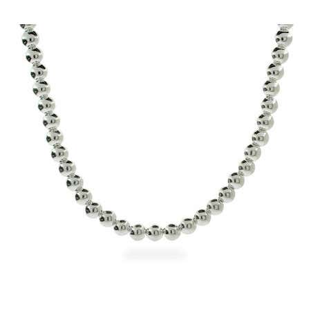 Designer Style 6mm Sterling Silver Bead Necklace   Eve's Addiction
