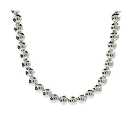 Designer Style 8mm Sterling Silver Bead Necklace