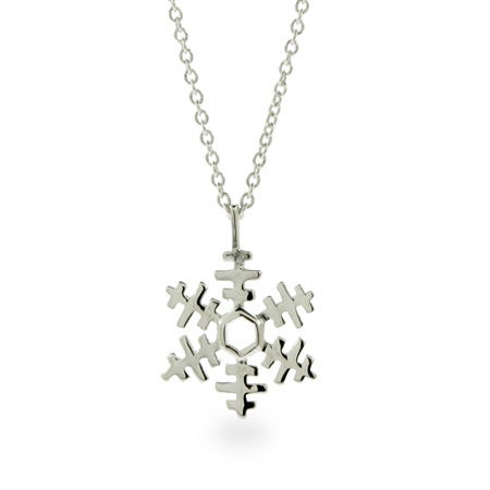 Pretty Petite Sterling Silver Snowflake Necklace