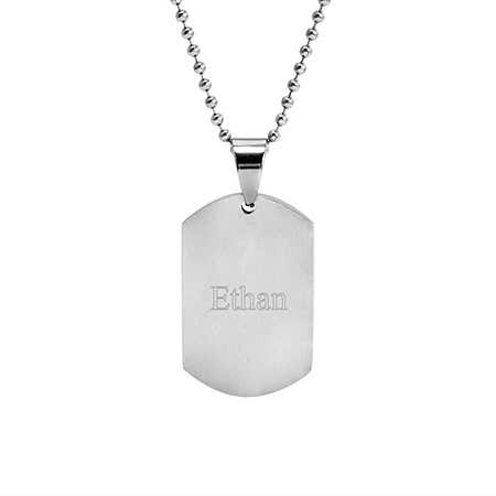 Engravable Stainless Steel Brushed Finish Dog Tag Pendant