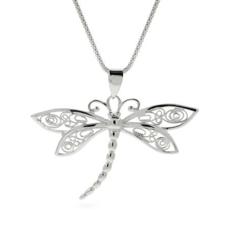 Vintage Style Sterling Silver Dragonfly Pendant