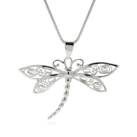 display slide 1 of 1 - Vintage Style Sterling Silver Dragonfly Pendant - selected slide