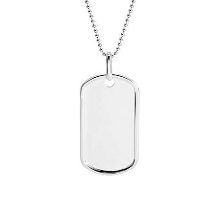 Medium Sterling Silver Dog Tag Pendant