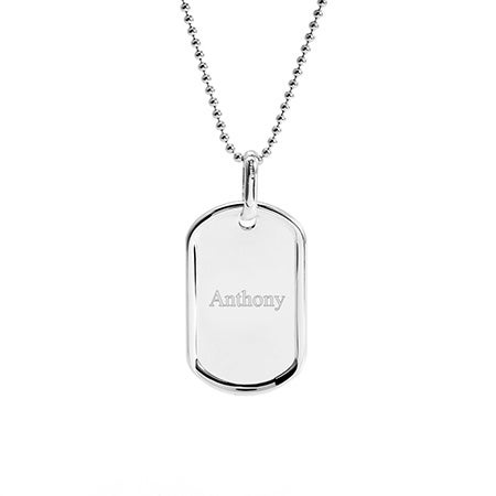 Engravable Small Sterling Silver Dog Tag Necklace