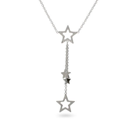 Sterling Silver Cascading Star Necklace