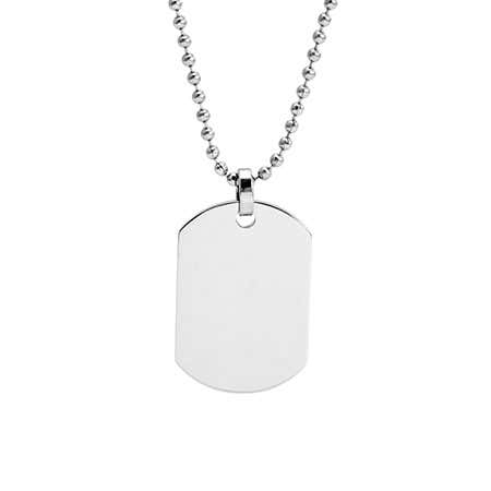 Engravable Small Dog Tag Pendant Necklace
