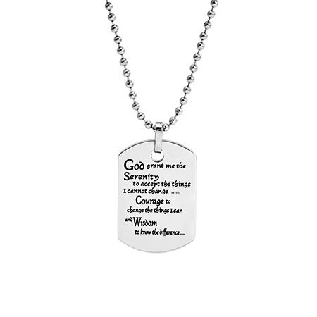 Serenity Prayer Engravable Dog Tag Pendant | Eve's Addiction®