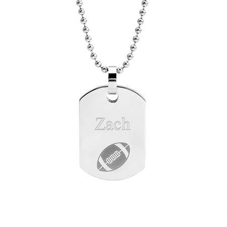 Stainless Steel Engravable Football Dog Tag
