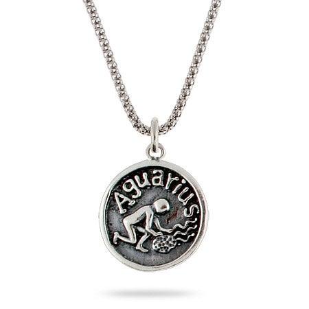 Aquarius Zodiac Sterling Silver Pendant | Eve's Addiction