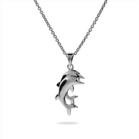 Sterling Silver Playful Dolphin Necklace