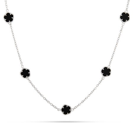 Designer Style Sterling Silver Onyx Clover Necklace