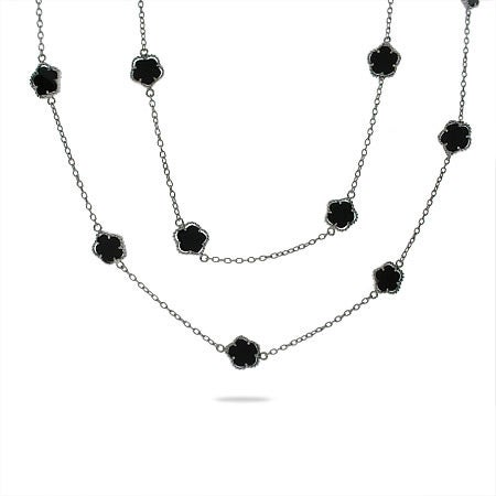 36 inch Designer Style Onyx Clover Necklace