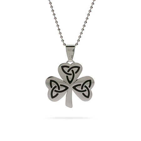 Engravable Celtic Lucky Shamrock Pendant