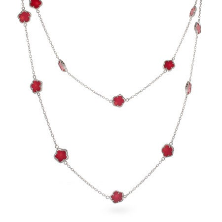 36 Inch Designer Style Red Clover Necklace