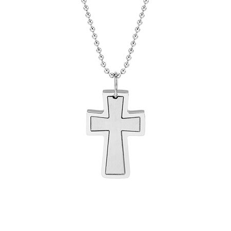 Engravable Stainless Steel Cross Pendant