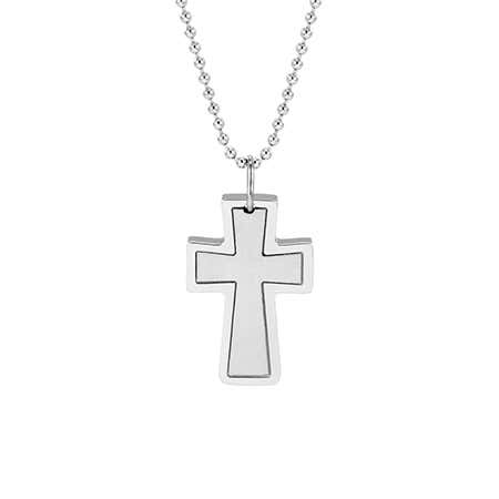 Engravable Stainless Steel Cross Pendant
