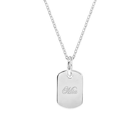Petite Sterling Silver Engravable Dog Tag Pendant