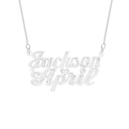 Sterling Silver Couples Carved Script Nameplate Necklace