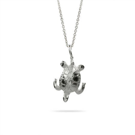 Sterling Silver Swimming Sea Turtle Pendant