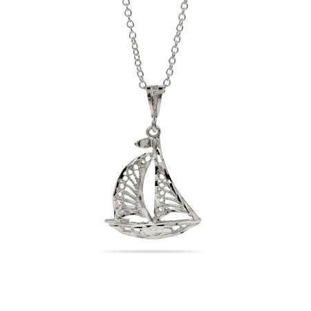 Sterling Silver Filigree Sailboat Pendant Necklace