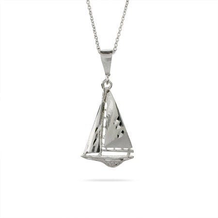 Sail Away Sterling Silver Sailboat Pendant | EvesAddiction
