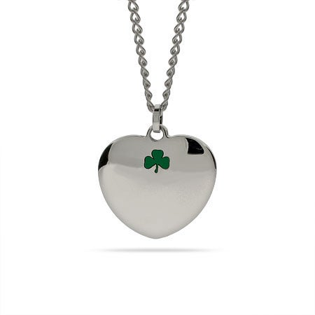 Lucky Shamrock Engravable Heart Necklace