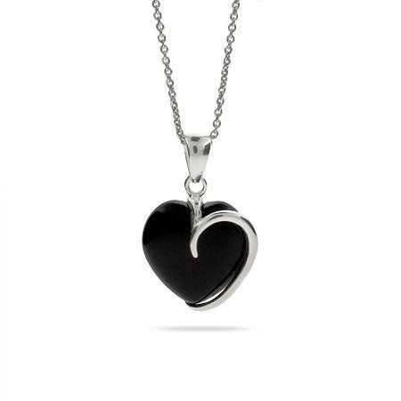 Onyx and Sterling Silver Heart Necklace