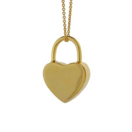 Gold Vermeil Engravable Locked Heart Pendant