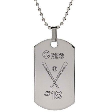 Engraved Stainless Steel Baseball Dog Tag Pendant