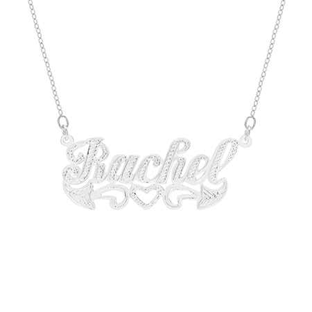 display slide 1 of 2 - Diamond Cut Sterling Silver Name Necklace - selected slide