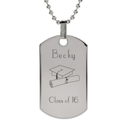 Engravable Graduation Dog Tag Necklace | Eve's Addiction