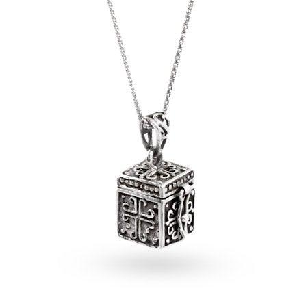 Sterling Silver Religious Prayer Box Pendant
