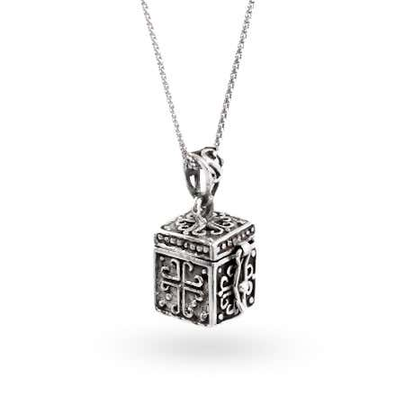 display slide 1 of 2 - Sterling Silver Religious Prayer Box Pendant - selected slide