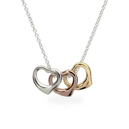Three Tone Heart Charm Necklace