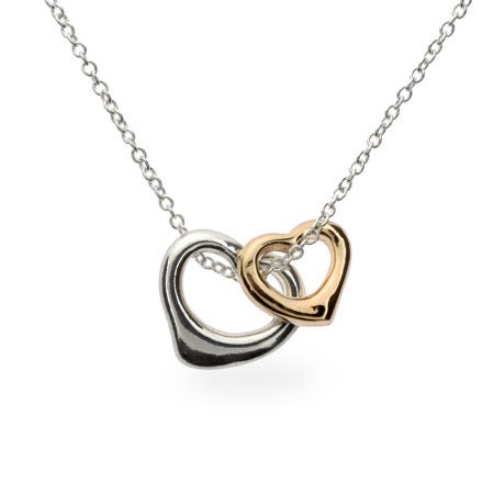 Gold and Silver Heart Charm Necklace | Eve's Addiction