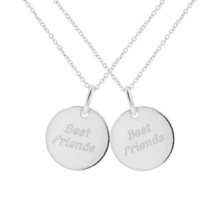 display slide 1 of 1 - Engravable Sterling Silver Best Friends Necklace - selected slide